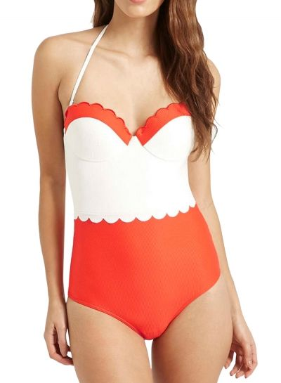 a183dcba71f One Piece Halter Color Block Swimwear OASAP.com