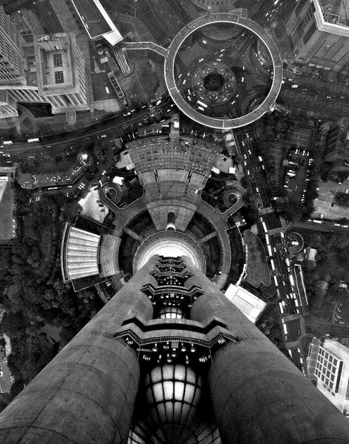 The view through the glass floor on the Oriental Pearl Tower's observation deck. Futuristic Shanghai http://www.augustuscollection.com/futuristic-shanghai/