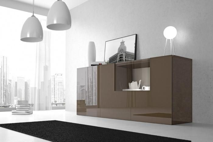Aparador moderno de color caf ideal para un sal n for Muebles para cafeteria