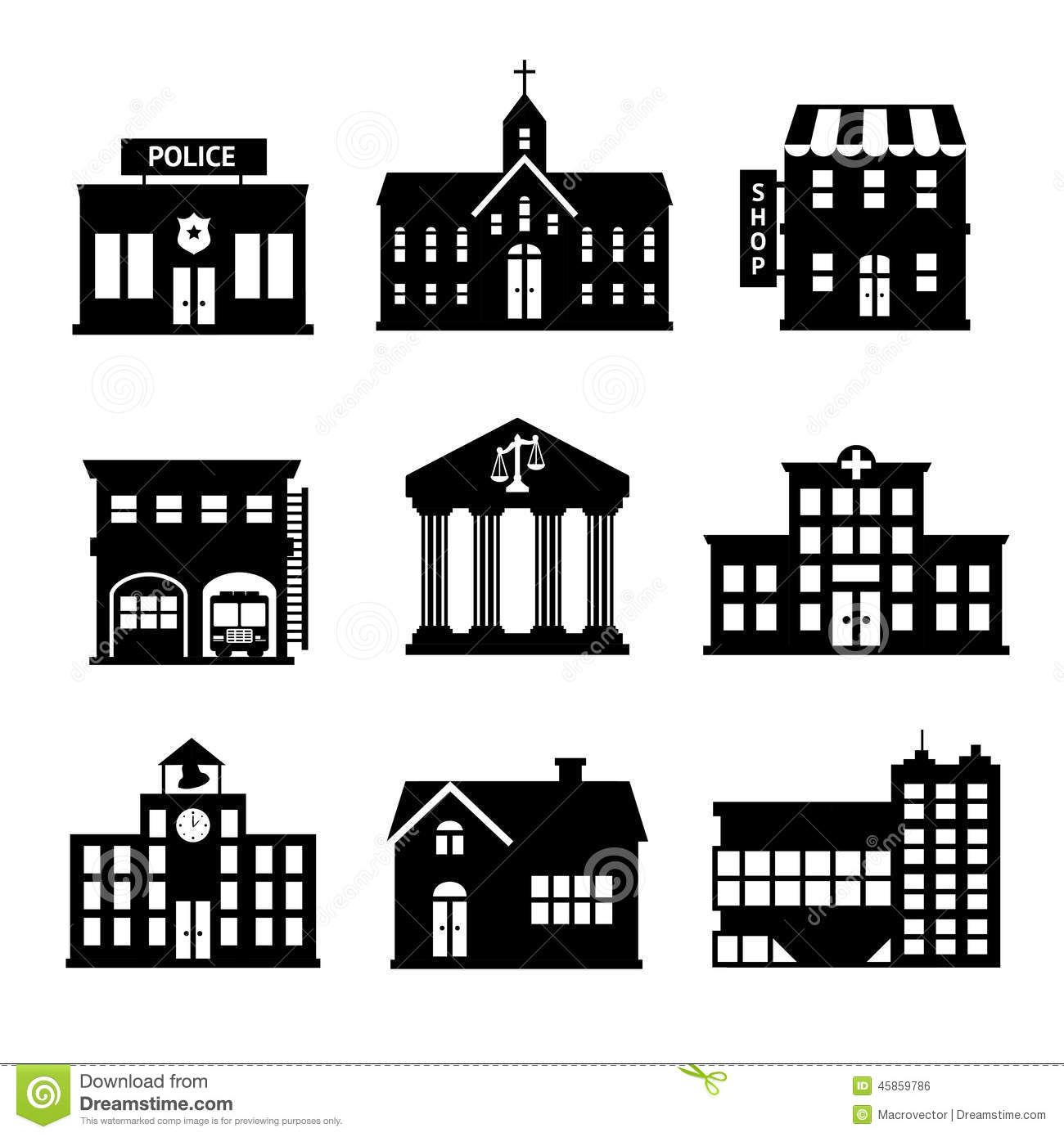 Library Building Clipart Black And White