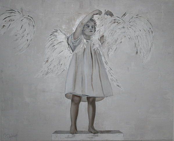 Mon ange 2 huile sur toile de lin 80 x 100 celinedeshayes - Peinture sur lin ...