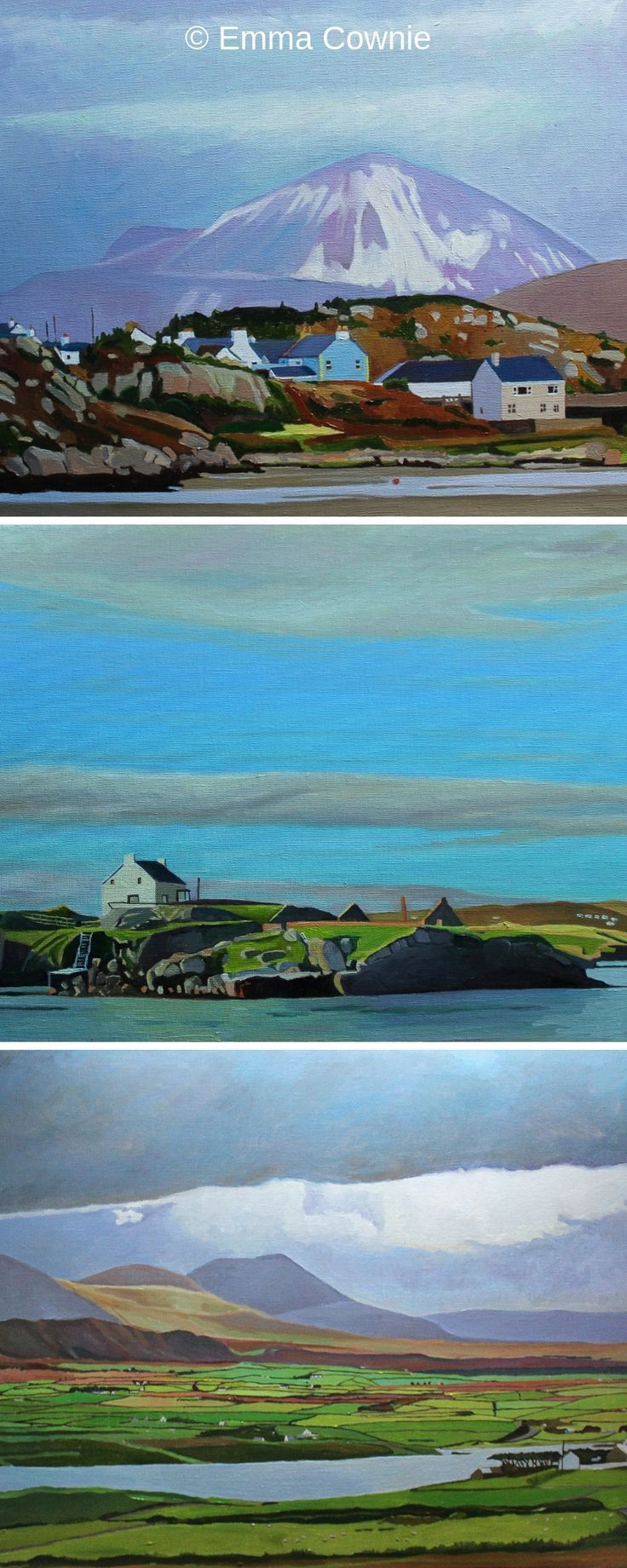Donegal paintings, Ireland. Oil painting background, Oil