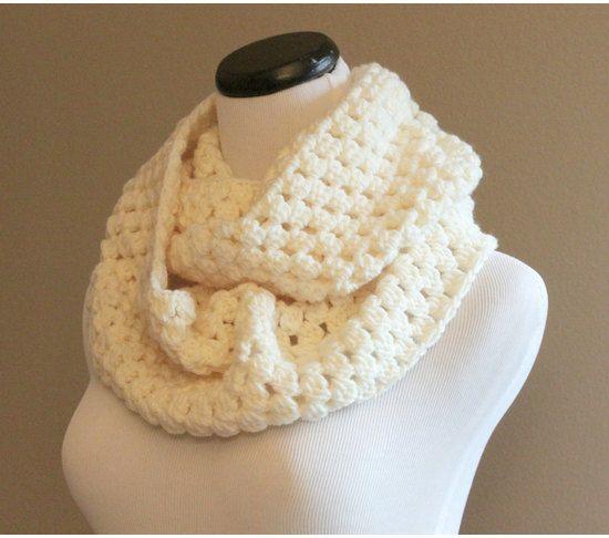 Cream Chunky Crochet Infinity Scarf, Chunky Crochet Infinity Cowl, Crochet Circle Scarf, Womens Winter Fashion, $38.0