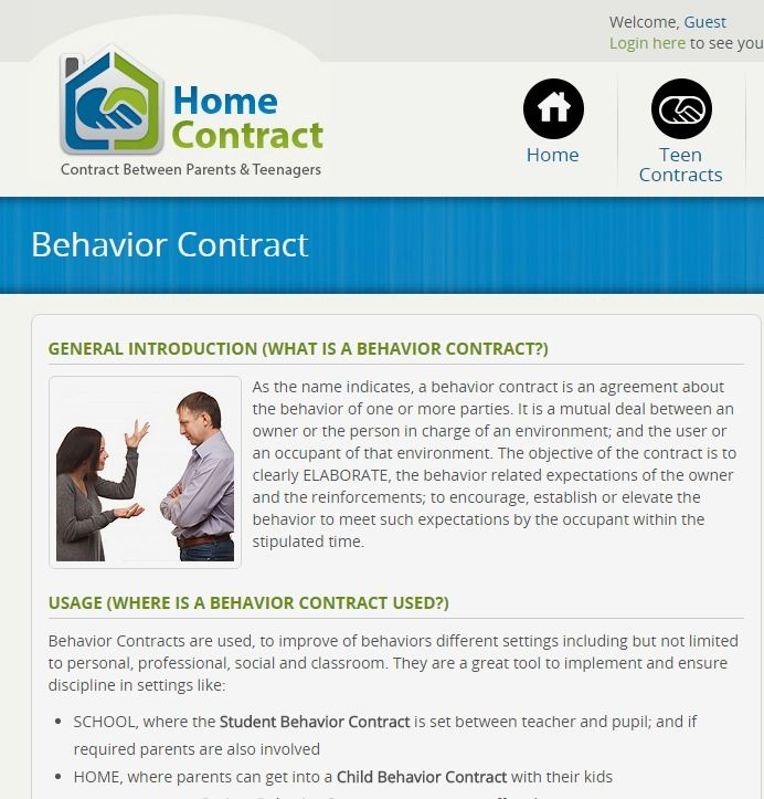 Behavior Contract  Difficult Children Of All Ages  Adhd Odd Cd