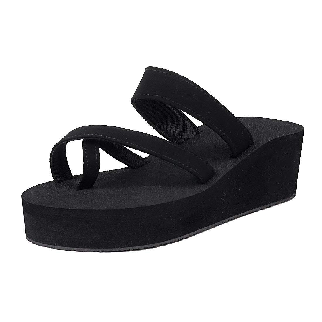 5170e994f3893b Leisurely Pace Black Wedge Flip Flops for Women Girl Rubber Platform Summer Beach  Sandal    Nice of your presence to drop by to see our picture.