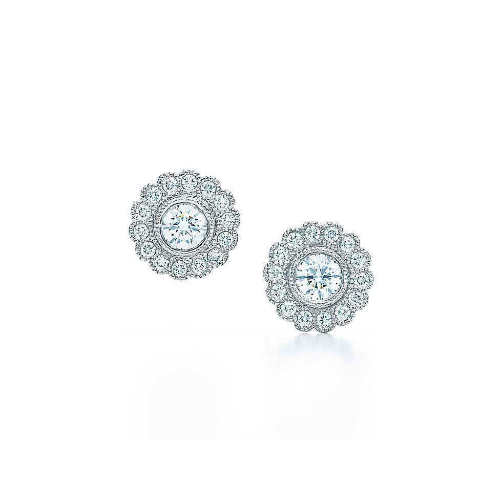6a7227942 Tiffany Enchant™ flower earrings in platinum with diamonds.   Tiffany & Co.  LOVEEE Perfect Wedding Day Earrings