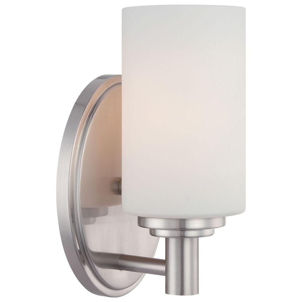 Thomas Lighting Pittman 1 Light Brushed Nickel Bath Vanity Light Vanity Lighting Bathroom Vanity Lighting Transitional Wall Sconces