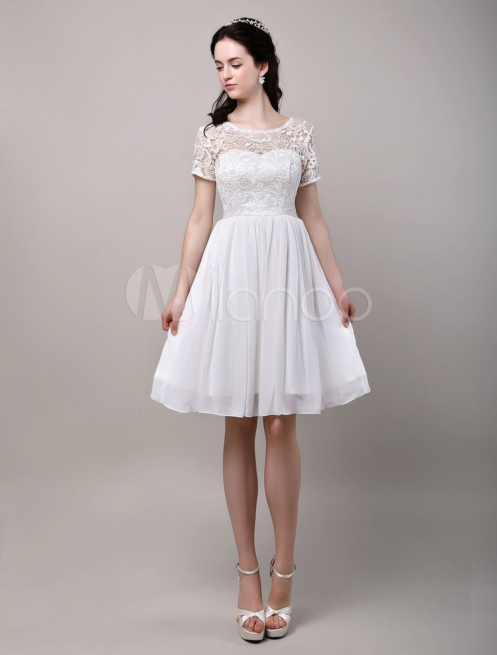 Short sleeves Lace Bodice Chiffon Reception Wedding Dress