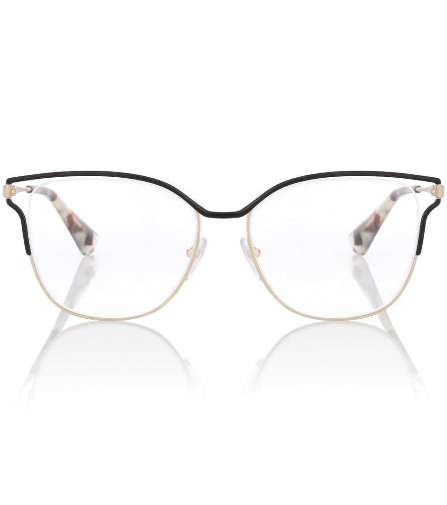 5081ad1d8b Prada - Metal square glasses - Prada s open-work metal glasses bring a  modernist approach