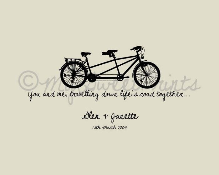 Bike Love - You and me travelling down lifes road together -  customised print