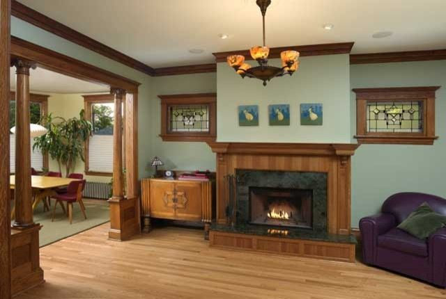 Living Room Colors With Oak Trim decorating oak woodwork taupe blue living room | dining room paint