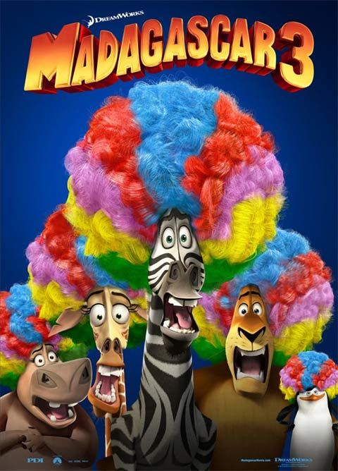 New Madagascar 3 Poster Is Filled With Rainbow Wigs Filme