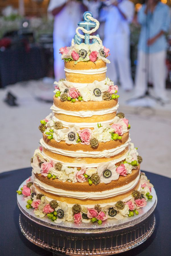 Naked floral cake with anchor topper. Key West Cakes.   Floral Cakes ...