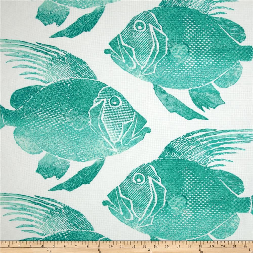 Discount outdoor fabric by the yard - P Kaufmann Indoor Outdoor Fish Turquoise Discount Designer Fabric Fabric Com