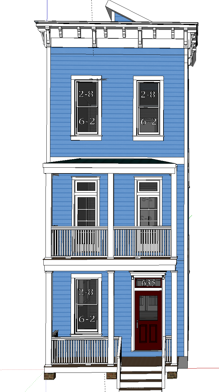 Balcony french doors - Front Elevation With Two French Doors And Transoms On Second Story Balcony Option