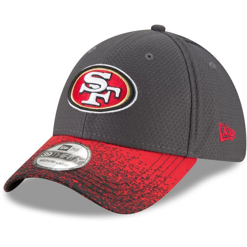 bc1850d7a San Francisco 49ers New Era Visor Blur 39THIRTY Flex Hat - Graphite/Black