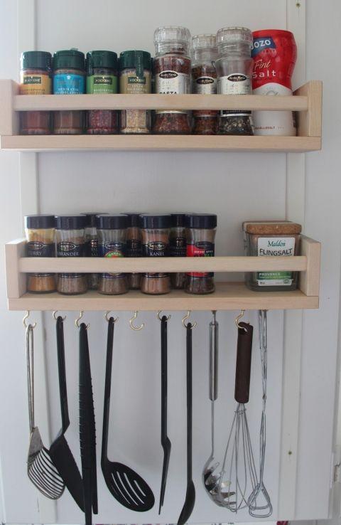 Add hooks to the bottom of the Bekvam spice rack