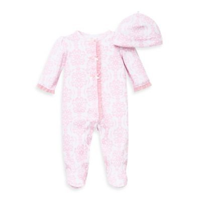 8e987e922422 Little Me® 2-Piece Damask Scroll Footie and Hat Set in Pink ...
