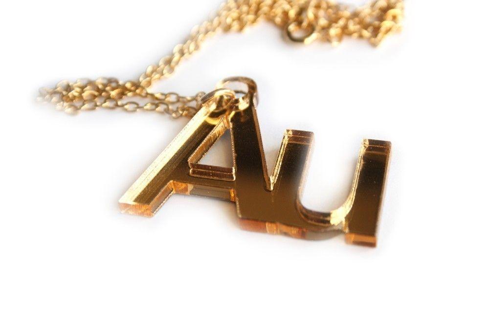 au gold chemical element necklace - Au Pendant Periodic Table