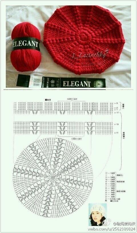 Crochet Beret - Chart | gorros | Pinterest | Gorros, Ganchillo y Tejido