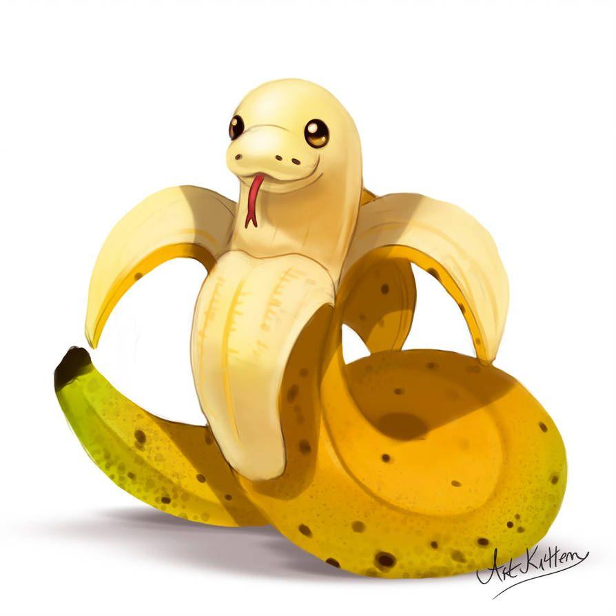 Creature Doodle 18 Banana Snake By Artkitt Creations Snake Art Cute Animal Drawings Kawaii Cute Animal Drawings