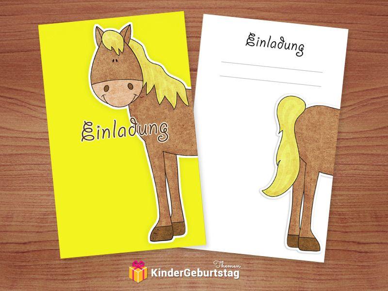 Einladungskarten Pferde zum Kindergeburtstag kostenlose vorlagen