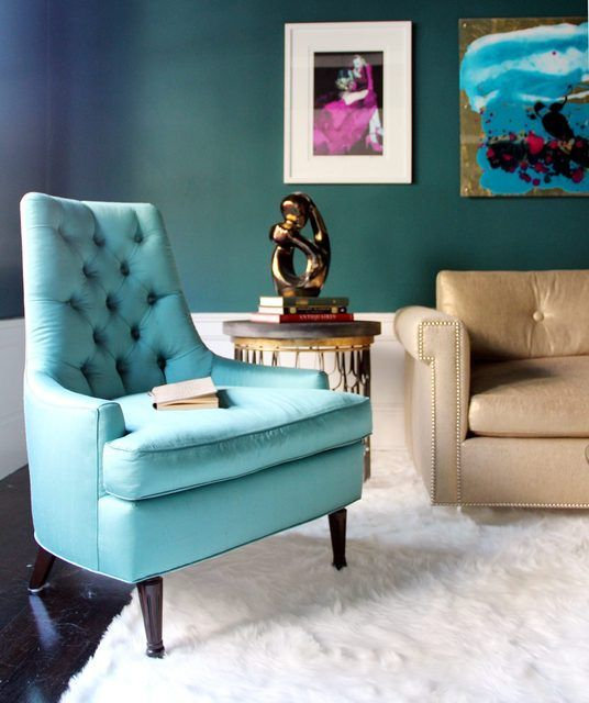 Maria's House Tour via apartment therapy - Lovely blue retro-shaped chair!