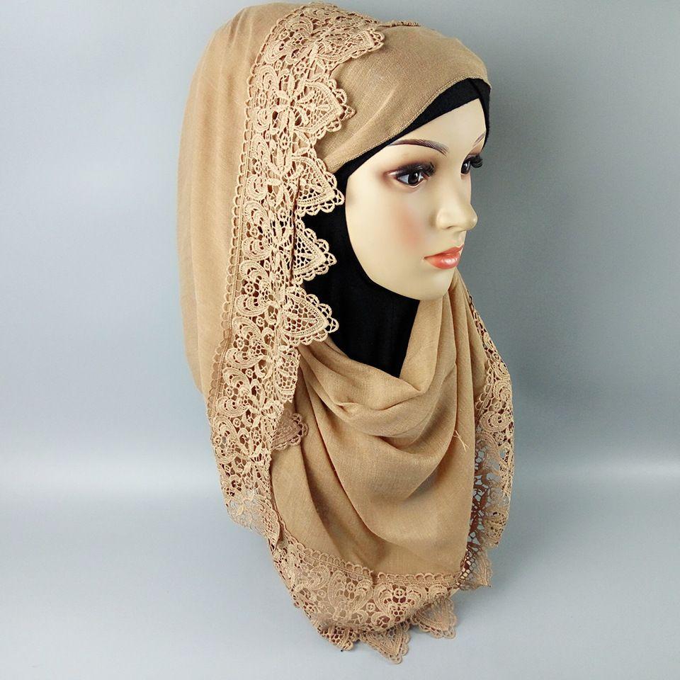 Fashion cotton stitching lace women's scarf high quality Turkish