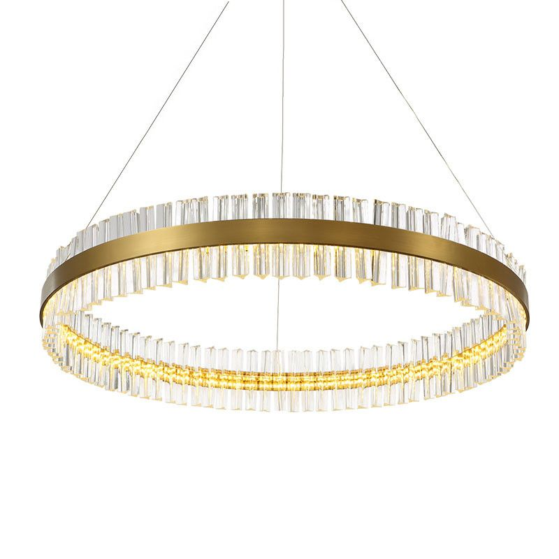 Ring Hanging Lamp Modern Creative Gold Drawing Stainless Steel Suspension Light Crystal LED Chandelier For