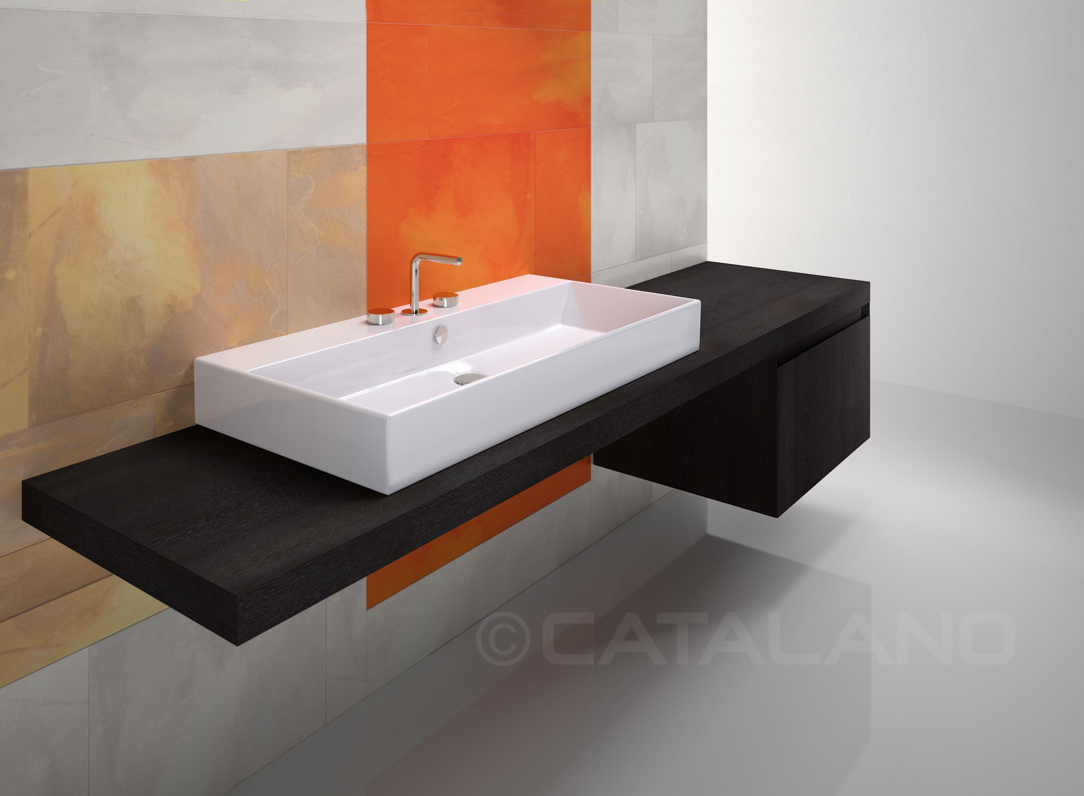 Premium 100_Washbasin prearranged to install the taps on the ...