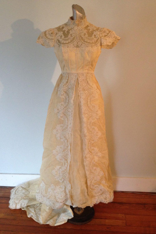 1950s Wedding Dress Vintage Edwardian Style Ivory Lace Taffeta Small by LilBlackDressVintage on Etsy