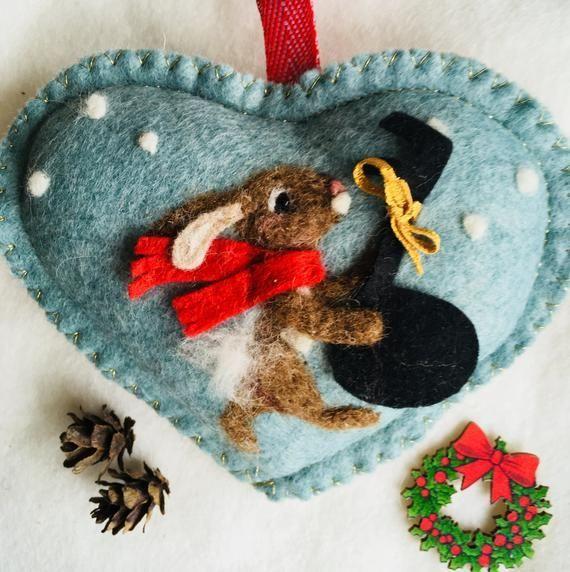 Decorative heart Skating rabbit , needle felted bunny personalized gift, rabbit ornament pers... #needlefeltedbunny