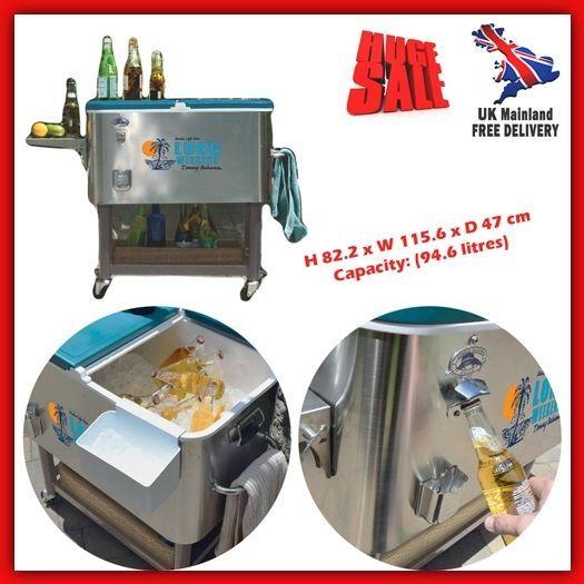 Outdoor Cooler Box Ice Beer Drink Patio Mini Bar Steel Portable Rolling Cart  Cap