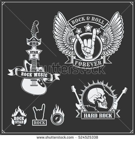 Rocknroll Music Symbols Labels Logos And Design Elements Logo
