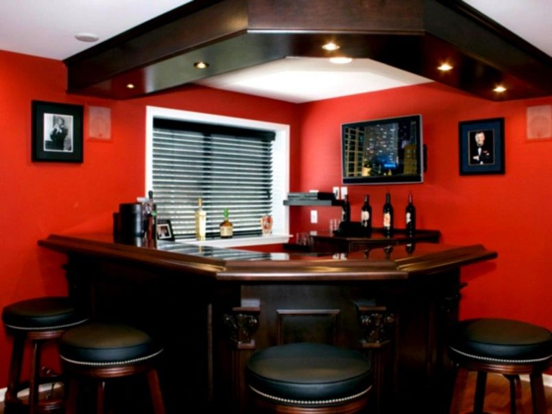 Interior, Corner Bar Design For Home Designs With Red Wall And L ...