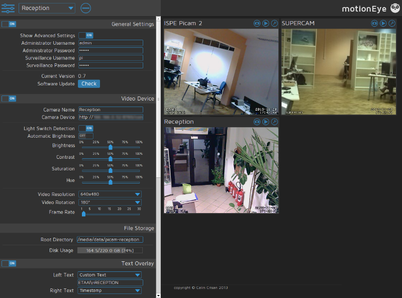motionEye is a web frontend for a Linux video surveillance