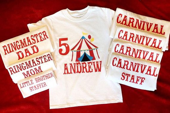Carnival Themed Birthday Personalized Shirts Circus 1st Birthdays Parties