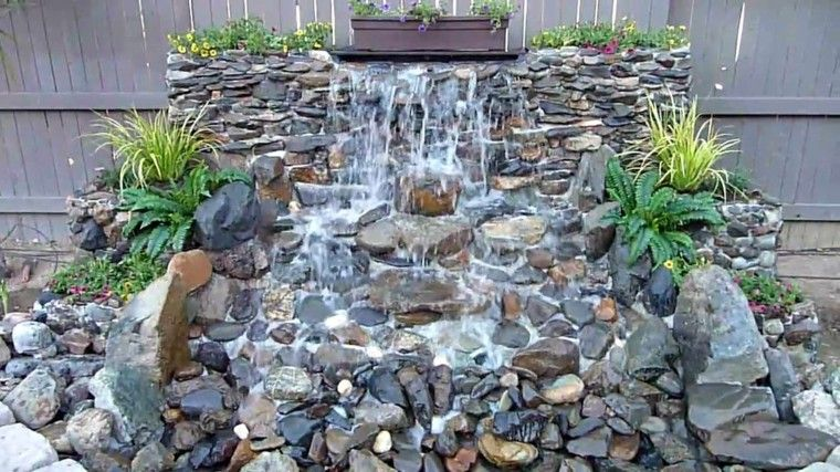 Bonita rocalla fuente cascada jardin dise o fuente de - Diseno de cascadas para jardin ...