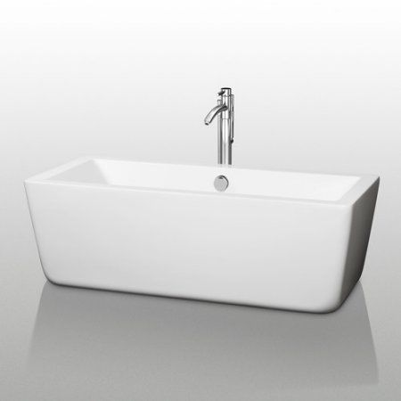 Wyndham Collection Laura 59 inch Freestanding Bathtub in White with Brushed Nickel Drain and Overflow Trim, Silver