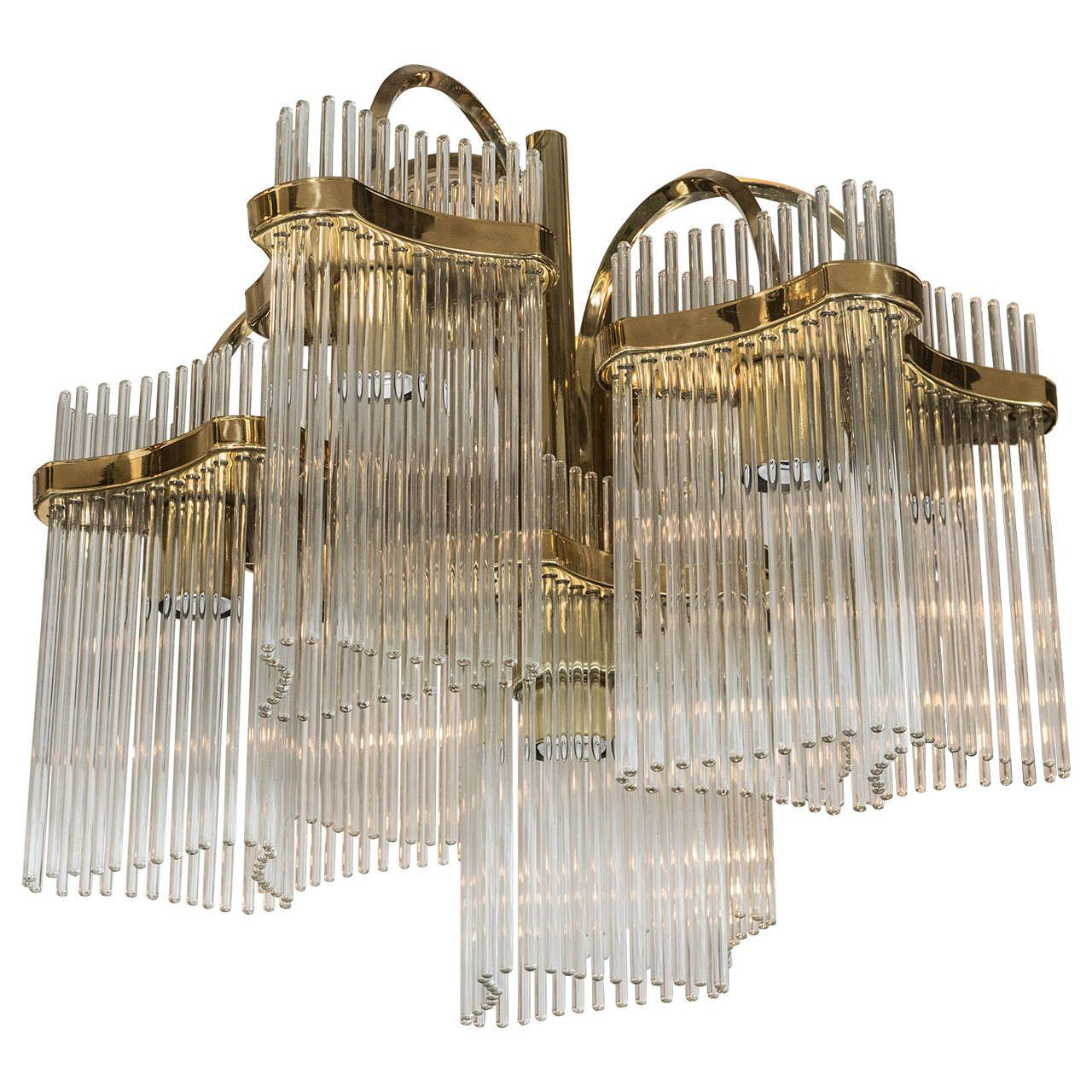 Midcentury Six-Arm Glass Rod Chandelier by Gaetano Sciolari for Lightolier