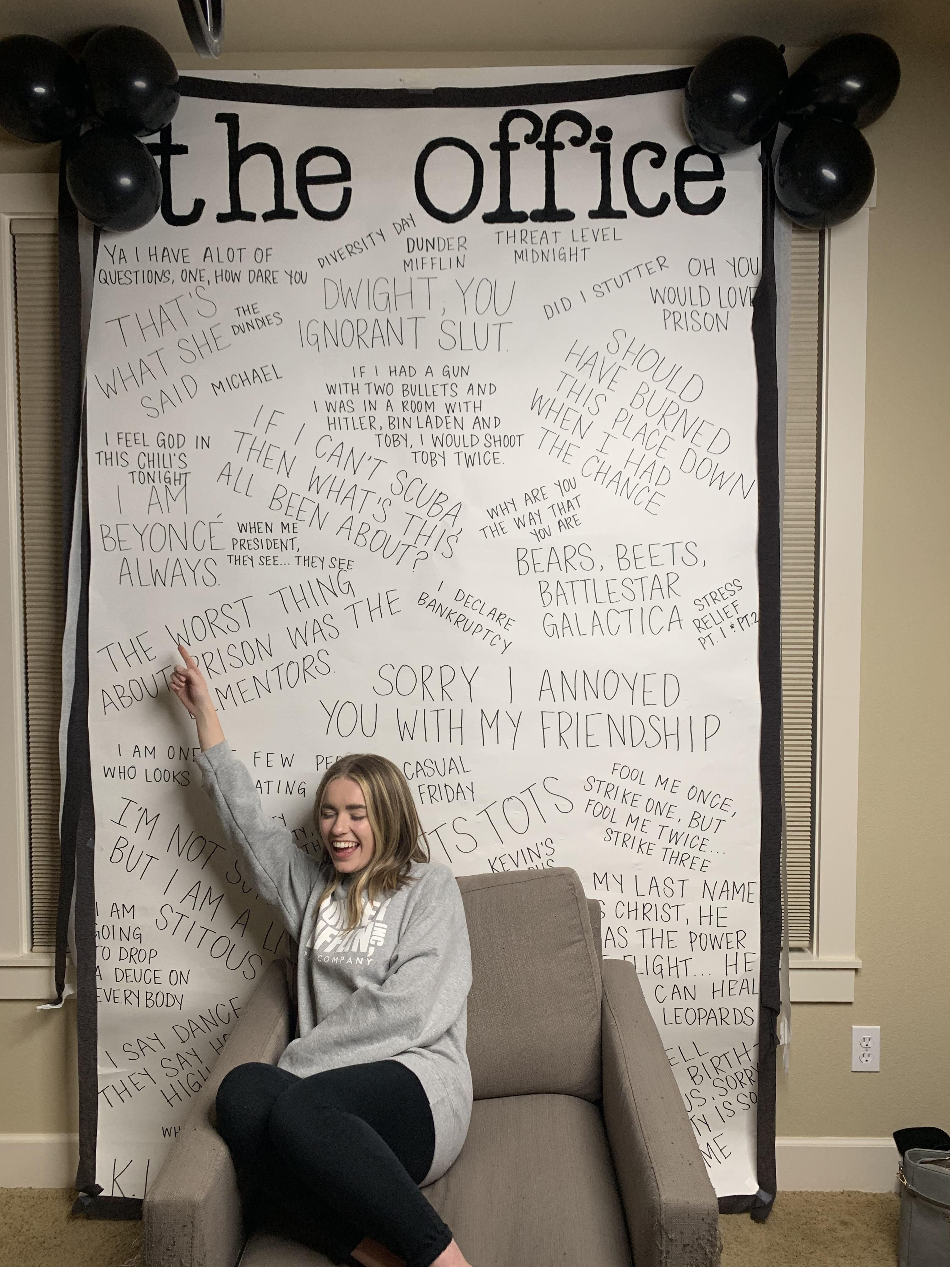 Threw my girlfriend an office surprise party, themes song with video coming soon.