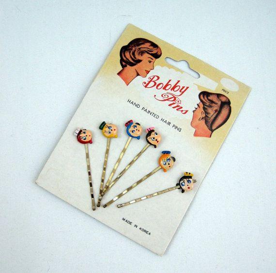 Vintage Hand Painted Hair PinsVintage Hair PinsVintage Bobby Pins