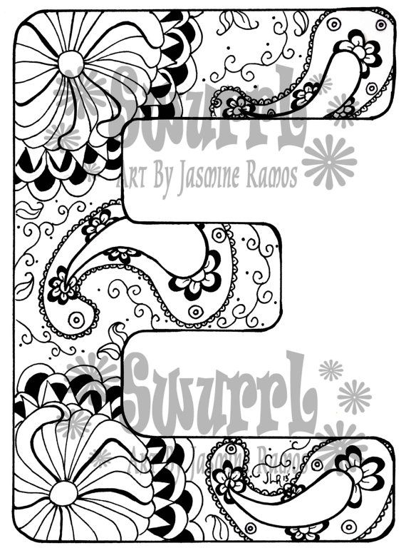 Nice Instant Download Coloring Page Monogram Letter E By Swurrl On Etsy, $0.99