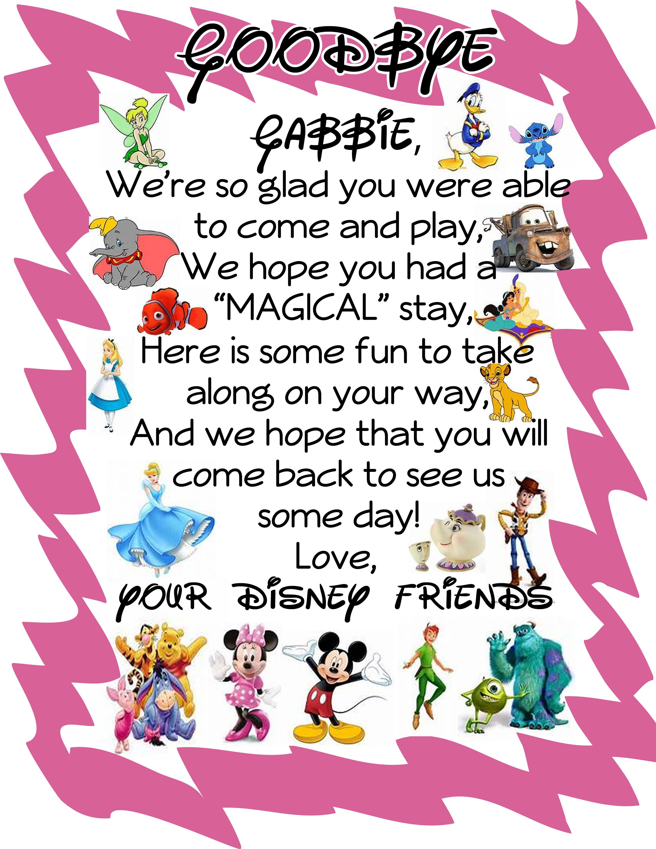 """A """"goodbye"""" Letter From The Disney Characters! Leave It"""
