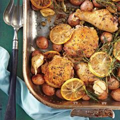 This delicious and easy recipe makes enough to have leftover chicken for another meal. The traditional bbq rub mix is stellar, and you might want to keep some on hand in an airtight container to sprinkle across other dishes, such as pulled pork or a salmon steak. Small red potatoes and baby carrots roast alongside the chicken, so cleanup is easy. Keep dinnertime rustic by taking the baking sheet from the oven to the table, and eating family style.
