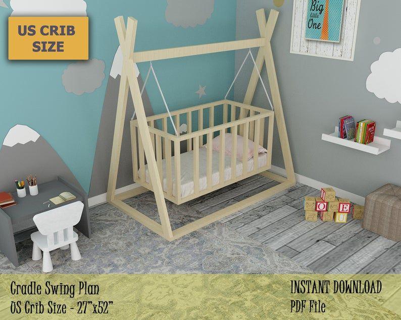 Cradle Swing Plan Wooden Swing For Baby Diy Plan For Outdoor Etsy In 2020 Baby Crib Diy Diy Baby Furniture Baby Nursery Diy