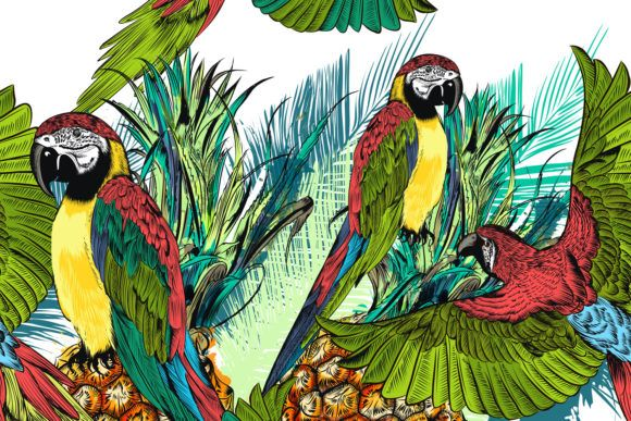 Tropical Pattern with Parrots (Graphic) by fleurartmariia · Creative Fabrica #tropicalpattern