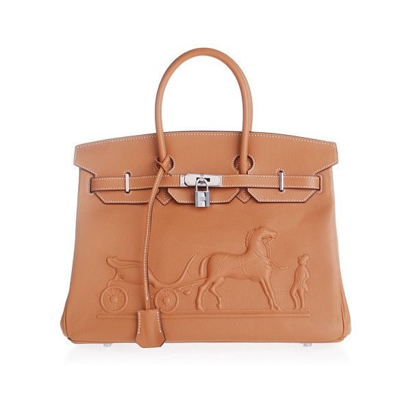 6b73fdac2d7c Hermes Birkin 35CM Horse Draw Carriage Embossed Brown Silver (€180) found  on Polyvore