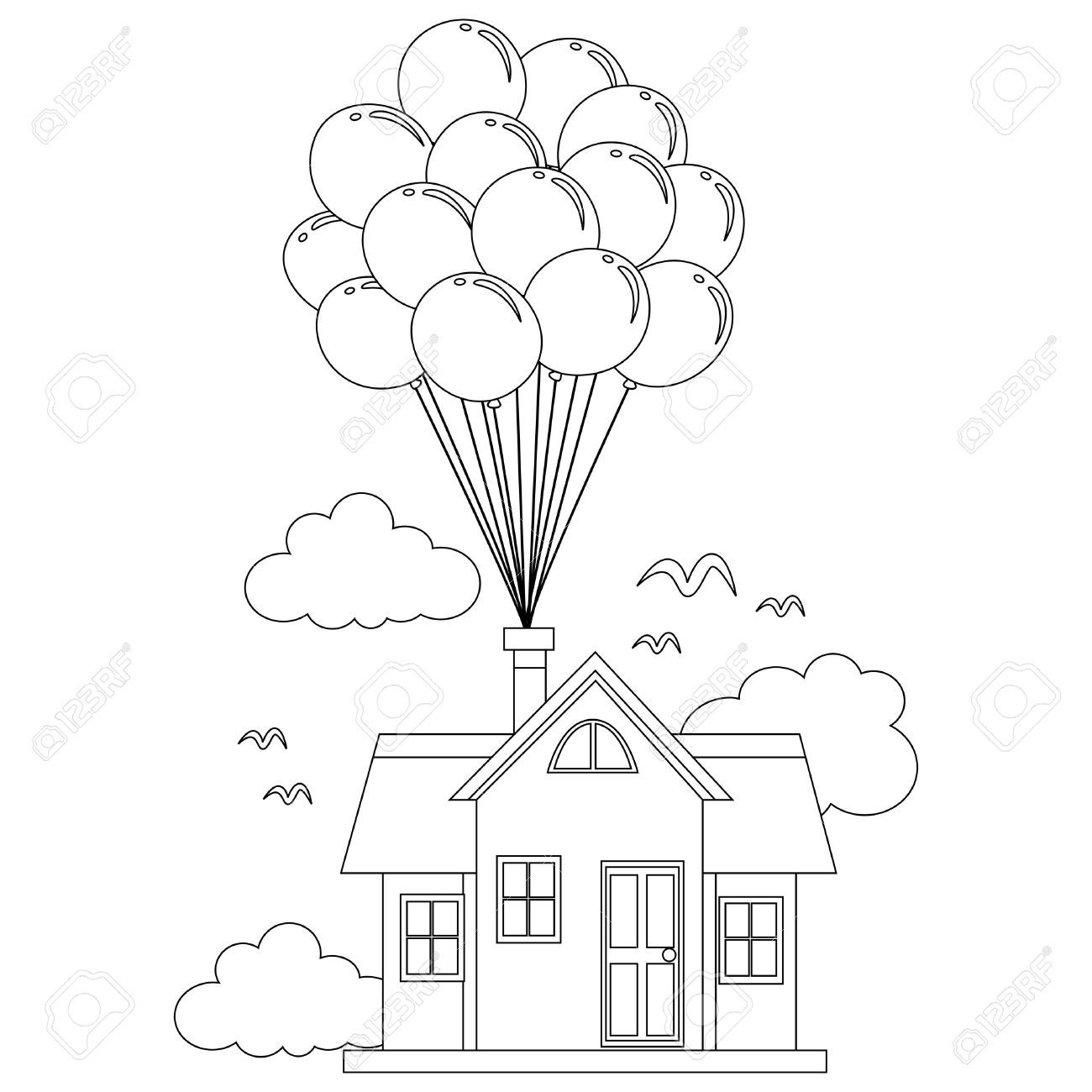 Coloring Book Outlined House With Balloon Balon Illustrasyon Boyama Kitaplari Aplike Sablonlari