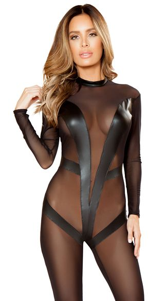 81c63301c1 This sheer plus size catsuit leaves little to the imagination featuring a  sheer nylon long sleeved bodystocking with a faux leather v-front  decorations and ...